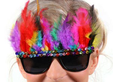 Brille mit bunten Federn und Schmucksteinen Party Brille Karneval Fasching – Bild 1