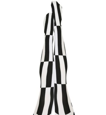 schwarz/weiße Strumpfhose Nylonstrumpfhose Harlekin black and white Karneval – Bild 2