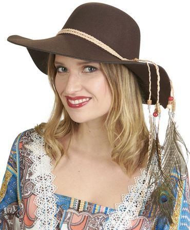 Flapper brauner Hut mit Lederband und Federdeko Hippiehut Karneval Fasching – Bild 1