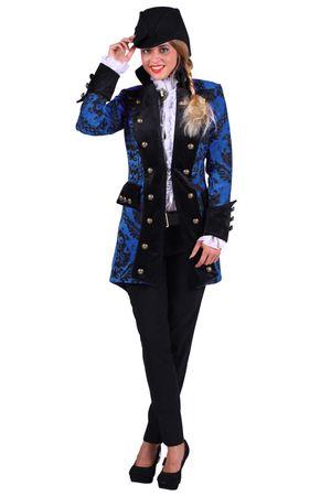 Excl blauer Frack Damen Jacke Gehrock Brokat royal Kostüm Show Karneval Fasching – Bild 3