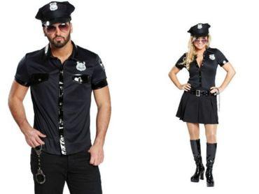 Polizeikostüm Damen Herren schwarz Police Polizist Kleid o. Hemd Karneval  – Bild 1
