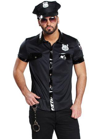 Polizeikostüm Damen Herren schwarz Police Polizist Kleid o. Hemd Karneval  – Bild 5