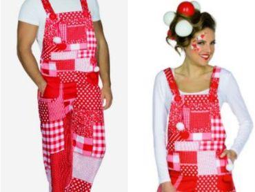Rot/weiße Latzhose Köln Hose Kostüm Patchworkmuster Gr. S-XXL Karneval Fasching – Bild 1