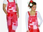 Rot/weiße Latzhose Köln Hose Kostüm Patchworkmuster Gr. S-XXL Karneval Fasching 001