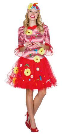 Ringelkleid Kleid rot/weiß Rut un Wieß mit Blömche Köln Karneval Fasching – Bild 1