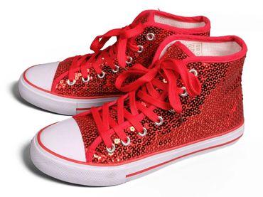 Pailletten Sneaker rot Turnschuhe mit Pailletten Schuhe Köln Karneval Fasching – Bild 1
