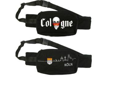 Schwarze Bauchtasche Skyline Köln u Wappen o Totenkopf Cologne Karneval Fasching – Bild 1
