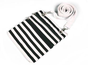Umhängetasche Tasche schwarz weiß gestreift Harlekin Pantomime Karneval Fasching – Bild 1