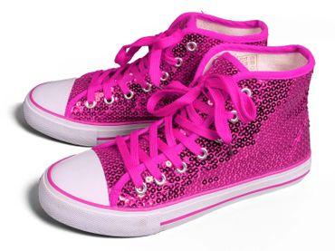 Pailletten Sneaker pink Turnschuhe m Pailletten Schuhe Hippie Karneval Fasching – Bild 1
