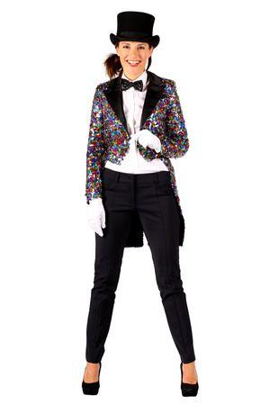 Kostüm Glitzer Frack Damen bunt Pailletten Jacke Gehrock Show Karneval Fasching – Bild 1