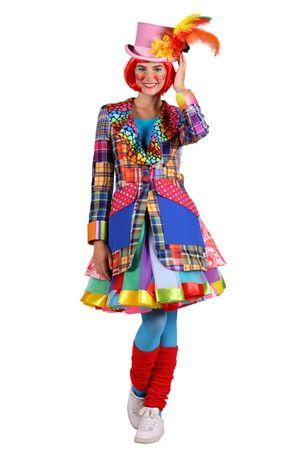 excl Clown Frack Patchworkoptik bunte Jacke Clownkostüm Damen Clownjacke Zirkus  – Bild 1