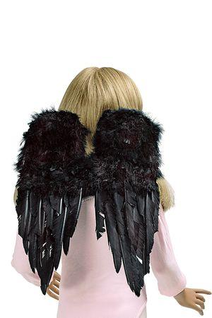 schwarze Flügel 30 x 45 cm groß schwarzer Engel Hexe Teufel Karneval Halloween – Bild 2