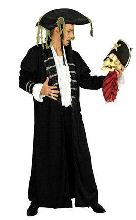 Kostüm Pirat Piratenmantel Gothic schwarzer Mantel Gr.46-52 Halloween Karneval