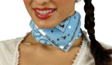 Halstuch Trachtentuch hellblau mit Pailletten Trachten Karneval Oktoberfest