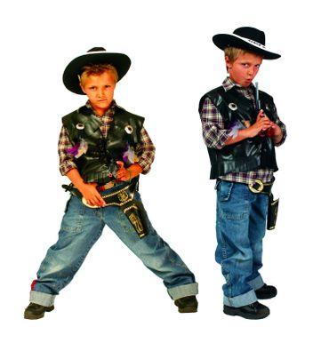 Cowboyweste Cowboy Kostüm Kinder schwarze Weste Gr.116-152 Karneval Fasching – Bild 2
