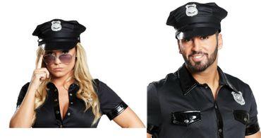 Police Cap schwarz Polizeikappe Cop Polizist Gr. 57 oder 59 cm Karneval Fasching – Bild 1