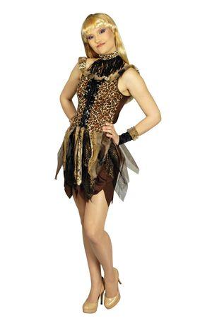 Kostüm Urwald Dschungel Neandertalerin Leopardenkleid Gr.34-46 Karneval Fasching