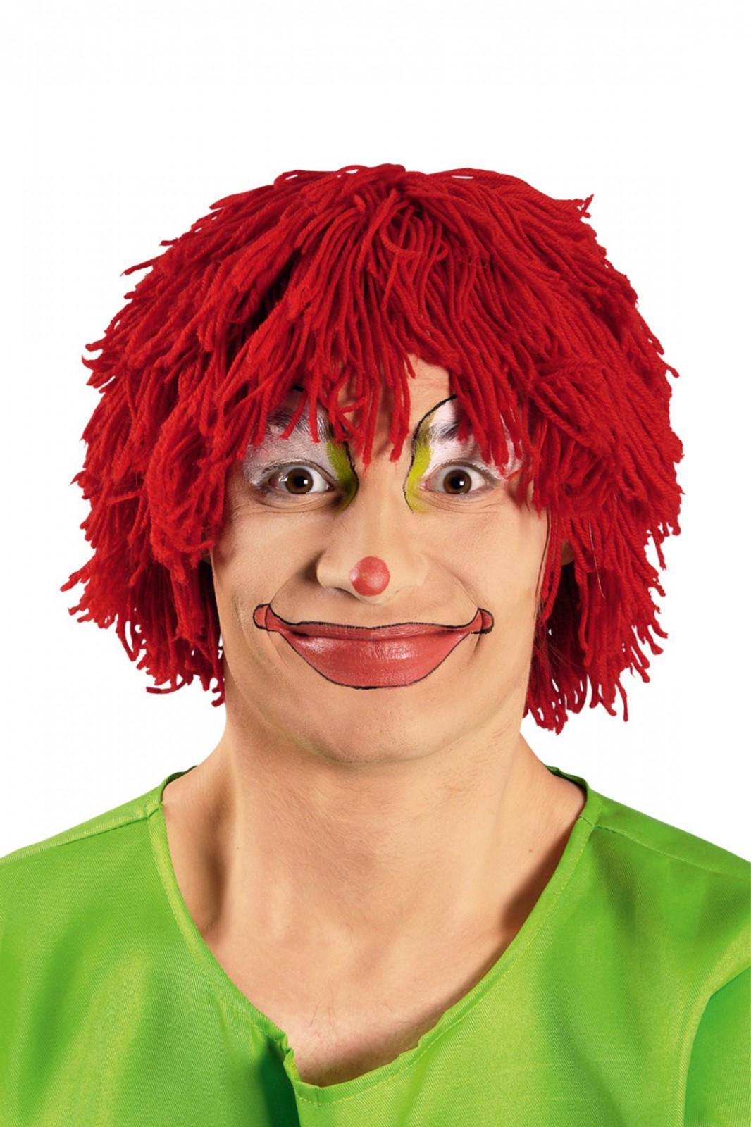 Perucke Clown Rote Wollperucke Clownperucke Karneval Fasching Neu