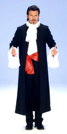 Kostüm Umhang Vampir m. Jabot u. Schärpe Vampirkostüm Herren Karneval Halloween  – Bild 2