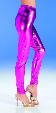 Kostüm Leggins pink glänzend pinke Glanzleggins Gr. 36 Flamingo Hippie Karneval – Bild 3