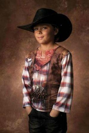 Kostüm T-Shirt Cowboy sehr plastisch Gr.116 128 Cowboy Shirt Kinder Karneval – Bild 1