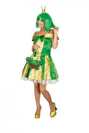 Froschkönigin Kostüm Elfe Fee gold/grün Märchen Gr.36-46 Karneval Fasching – Bild 1