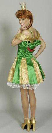 Froschkönigin Kostüm Elfe Fee gold/grün Märchen Gr.36-46 Karneval Fasching – Bild 2