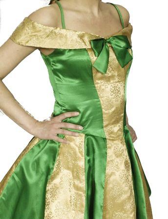 Froschkönigin Kostüm Damen Elfe Fee gold/grün Märchen Gr.36-46 Karneval Fasching – Bild 3