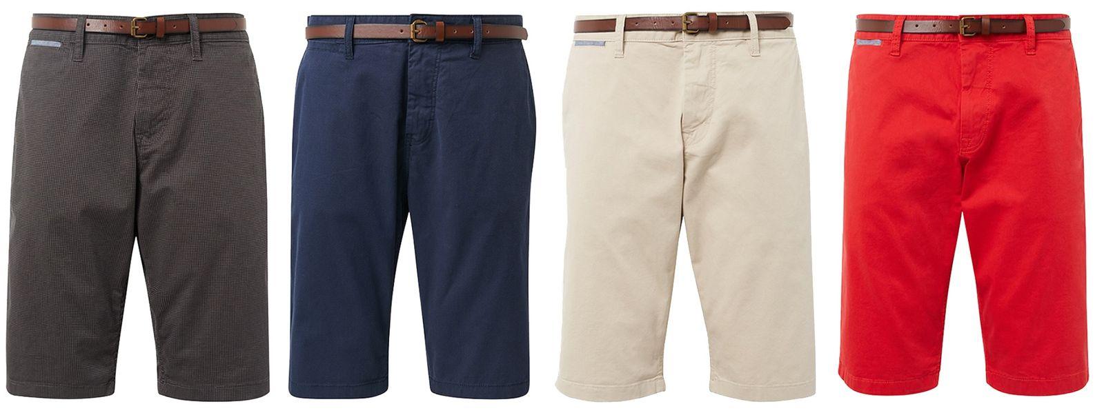 Detalles de Tom tailor Essential Hombre Chino Shorts con Cinturón