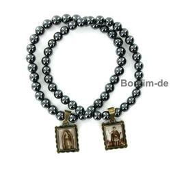 Armband mit Perlen aus Hämatit mit 1 Heiligenbild, antik