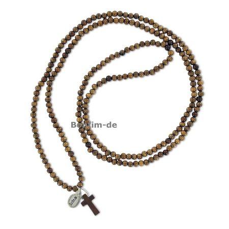 SALE: Holzkette mit Kreuzanhänger, mittelbraunes Holz, elastisch gebunden