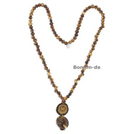Halskette aus Acai, Anhänger aus Macauba, Paxiubao und Jarina, verschiedene Farben, original Sambaia