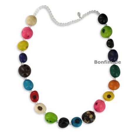 Halskette aus Jarina Samen und Bergkristall, bunt, original Sambaia