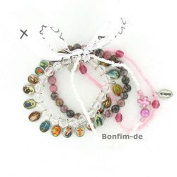 Lifestyle Armband Set - trendiger Materialmix in rosa / weiß