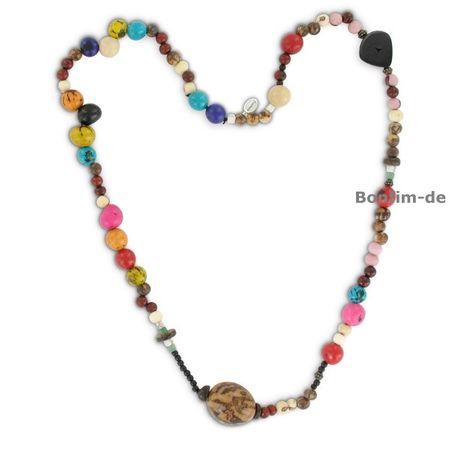 Halskette aus Acai, Paxiubao, Jarina und Holzperlen, bunt, original Sambaia