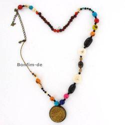 Halskette aus Acai, Paxiubao, Paxiubinha, Jarina, Jatobá, Santa Barbara und Capim Dourado, bunt, original Sambaia