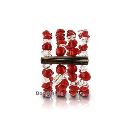 Armband aus Pau Brasil Samen und Bergkristall, 4 reihig, original Sambaia