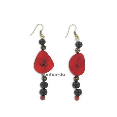 Ohrringe aus Jarina Scheibe und Acai Samen, bronzefarben, in mehreren Farben erhältlich, original Sambaia