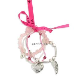 Lifestyle Armband Set - trendiger Materialmix in pink / silber