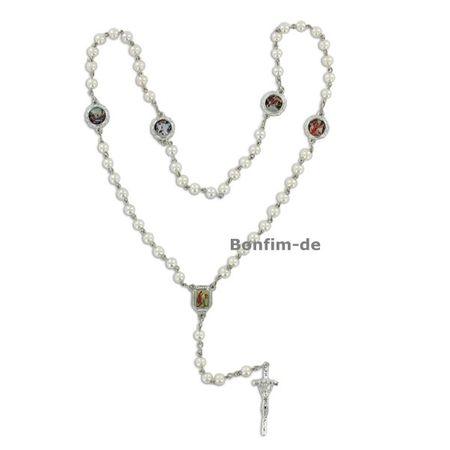 Rosenkranz, weisse Perlen (5 mm), 5 Bilder, auch als Kette