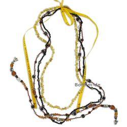 Lifestyle Halskette Set - trendiger Materialmix in gelb, mit Opal