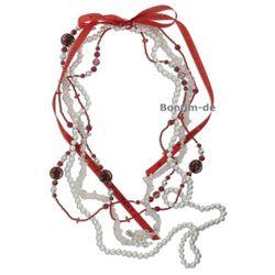 Lifestyle Halskette Set - trendiger Materialmix in rot, mit Bergkristall