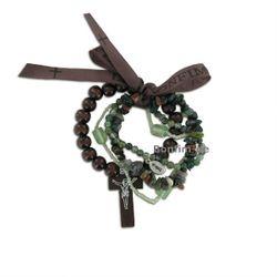Lifestyle Armband Set - trendiger Materialmix in grün, mit Achat