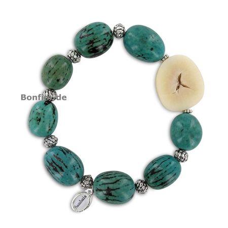 Armband aus Paxiubinha, Jarina Scheibe, Metallelemente, in mehreren Farben erhältlich, original Sambaia