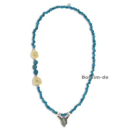 Halskette aus Acai und Paxiubao Samen, Jarina Scheibe, Engelanhänger, verschiedene Farben, original Sambaia