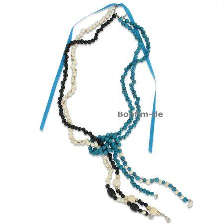 Vierstrang Halskette aus Acai Samen, verschiedene Farben, original Sambaia