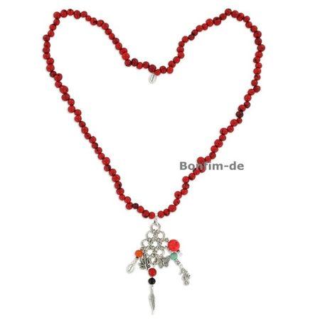 Halskette aus Acai Samen, Metallanhänger, in mehreren Farben erhältlich, original Sambaia