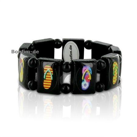 Gratisartikel Armband mit Sandalen Bildern, schwarzes Holz, große Elemente