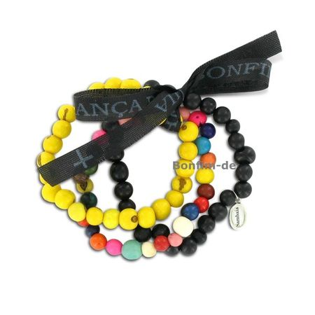 3er Armbandset aus Acai Samen, bunt/schwarz/gelb, original Sambaia
