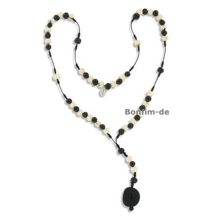 Halskette aus Acai Samen, Rosenkranz ohne Kreuz, original Sambaia